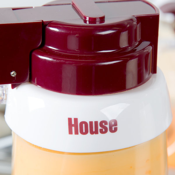 "Tablecraft CM3 Imprinted White Plastic ""House"" Salad Dressing Dispenser Collar with Maroon Lettering"