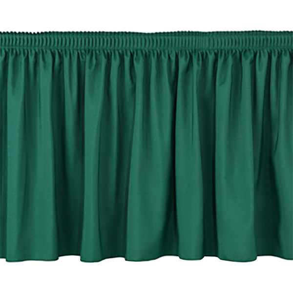 "National Public Seating SS16-96 Green Shirred Stage Skirt for 96"" Stage - 15"" x 96"""