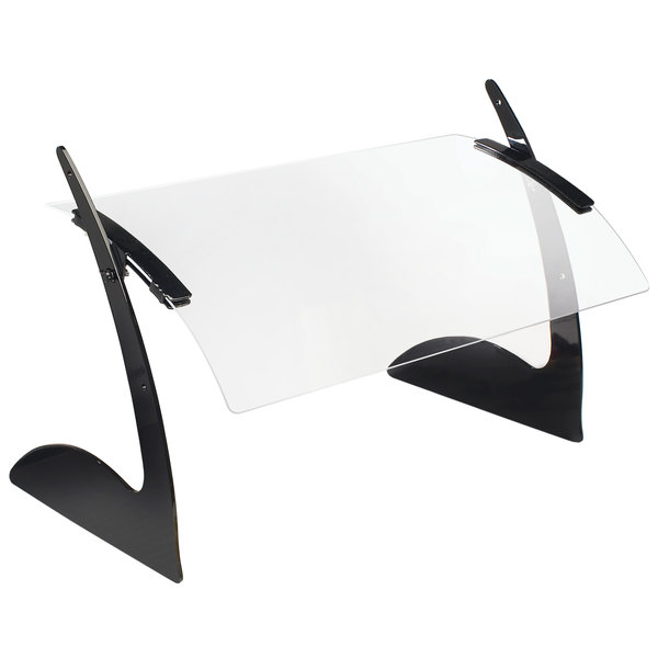 "Cal-Mil 1729-6 72"" Acrylic Curved Rectangular Adjustable Sneeze Guard with Black Metal Frame"