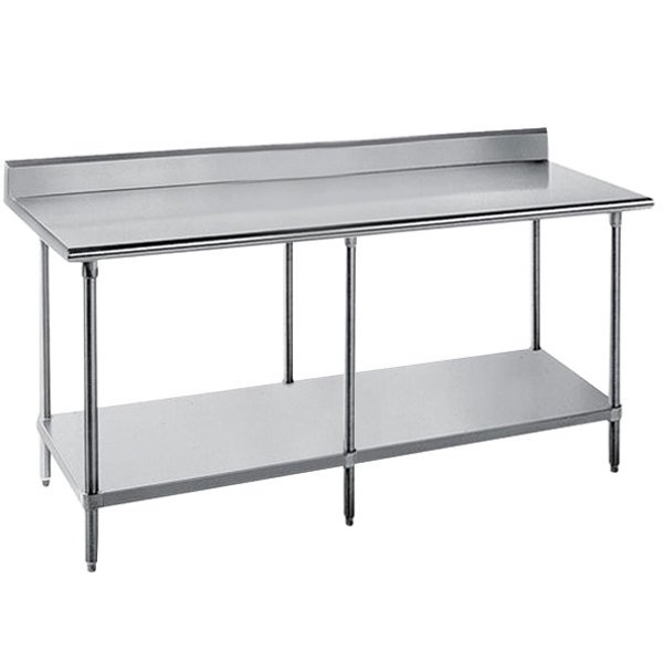 "16 Gauge Advance Tabco SKG-249 24"" x 108"" Super Saver Stainless Steel Commercial Work Table with Undershelf and 5"" Backsplash"