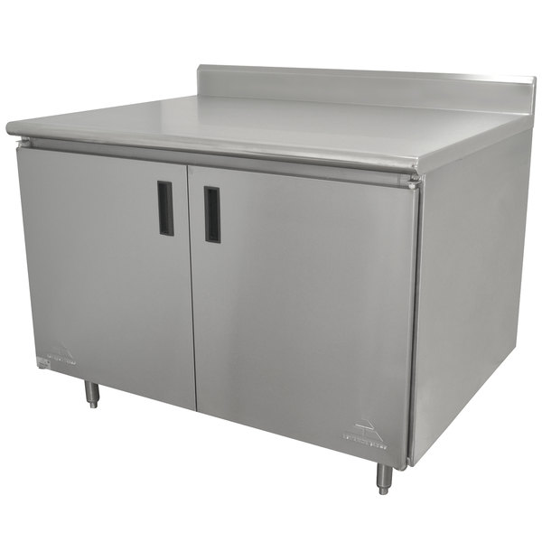 "Advance Tabco HK-SS-303 30"" x 36"" 14 Gauge Enclosed Base Stainless Steel Work Table with Hinged Doors and 5"" Backsplash"