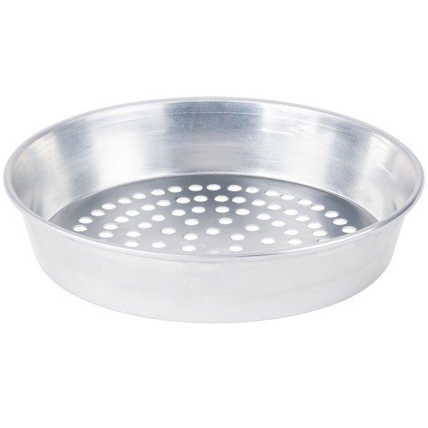 "American Metalcraft SPA90142 14"" x 2"" Super Perforated Standard Weight Aluminum Tapered / Nesting Pizza Pan"