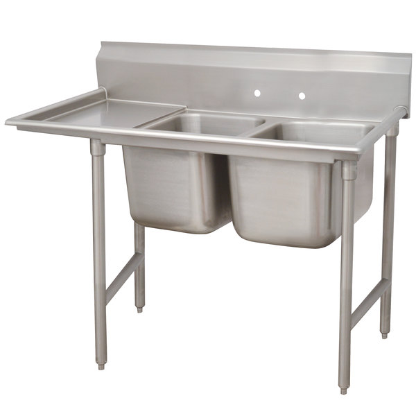 Left Drainboard Advance Tabco 93-62-36-18 Regaline Two Compartment Stainless Steel Sink with One Drainboard - 62""