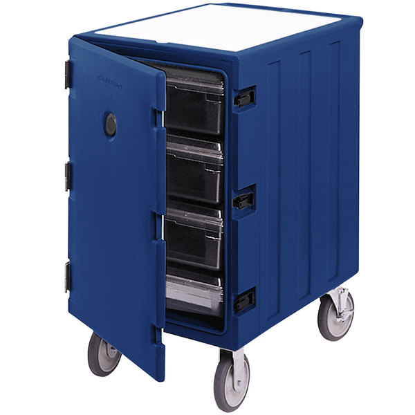 "Cambro 1826LBC186 Camcart Navy Blue Single Compartment Mobile Cart for 18"" x 26"" Food Storage Boxes"