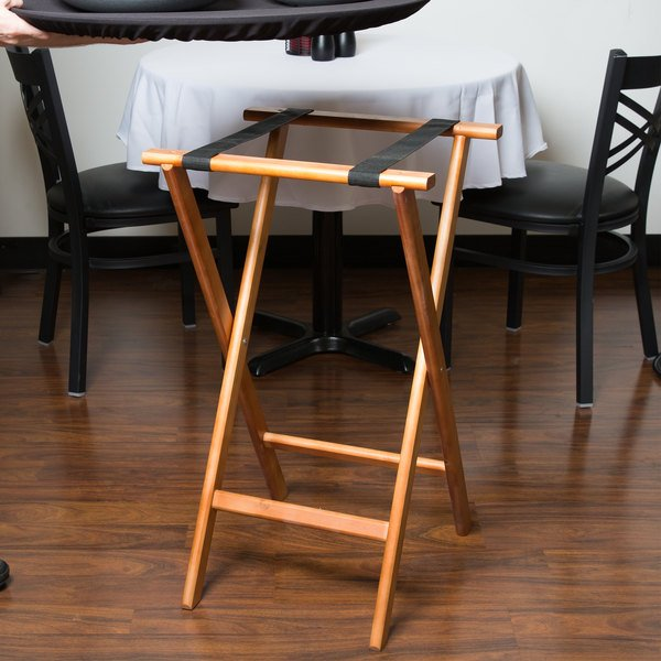 "Lancaster Table & Seating 32"" Folding Wood Tray Stand Light Brown"