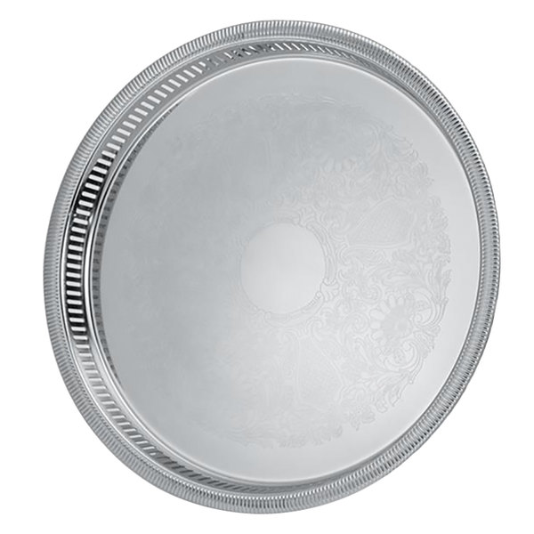 "Vollrath 82131 Elegant Reflections 15 1/4"" x 1 1/2"" Stainless Steel Round Catering Tray"