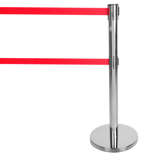 "Aarco HC-27 Chrome 40"" Crowd Control / Guidance Stanchion with Dual 84"" Red Retractable Belts"
