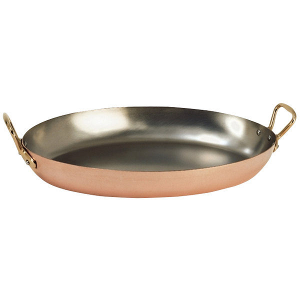 "De Buyer 6451.36 Copper Oval Pan - 14 1/8"" x 9"""