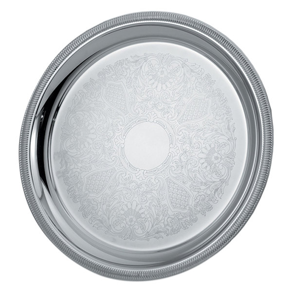 "Vollrath 82367 Elegant Reflections 15 1/4"" Silver Plated Stainless Steel Round Catering Tray"