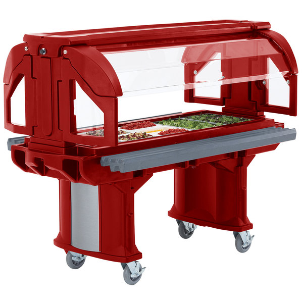 Cambro VBRL6158 Hot Red 6' Versa Food / Salad Bar with Standard - Low Height