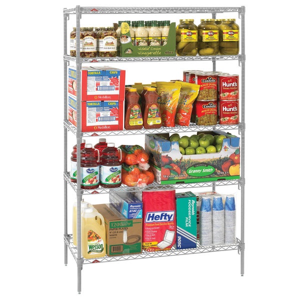 "Metro 5A447C Stationary Super Erecta Adjustable 2 Series Chrome Wire Shelving Unit - 21"" x 42"" x 74"""