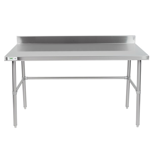 "Regency 30"" x 60"" 16-Gauge 304 Stainless Steel Commercial Open Base Work Table with 4"" Backsplash"