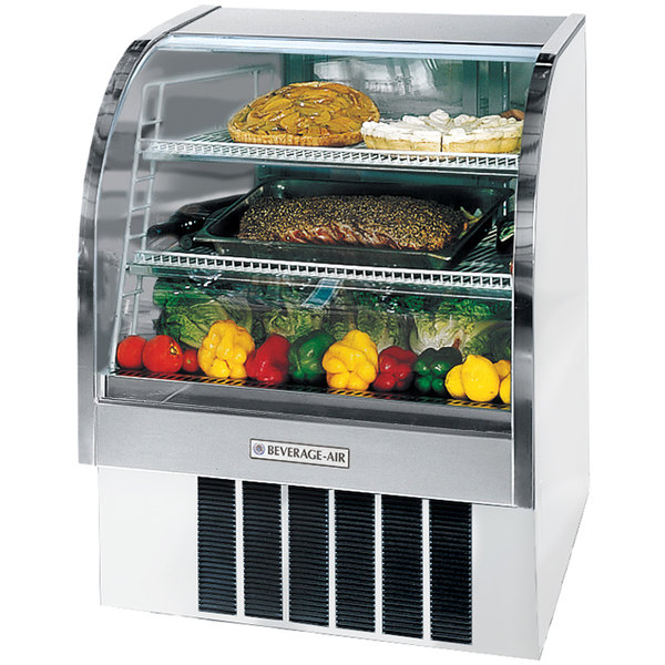 "Beverage Air CDR3/1-W-20 White Curved Glass Refrigerated Bakery Display Case 37"" - 13.4 Cu. Ft."
