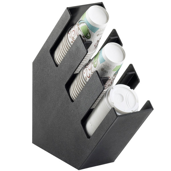 "Cal-Mil 2048-3 Classic Black Slanted 3 Section Cup and Lid Holder - 4 1/2"" x 16 1/4"" x 16 1/4"""