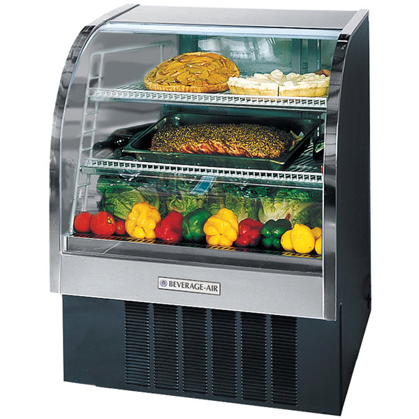 "Beverage Air CDR4/1-B-20 Black Curved Glass Refrigerated Bakery Display Case 49"" - 18.1 Cu. Ft."