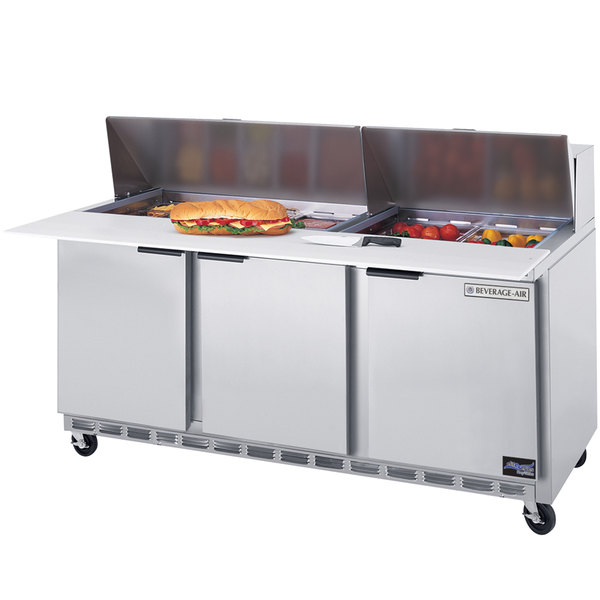 Beverage Air SPE72-18 72 inch 3 Door Refrigerated Sandwich Prep Table