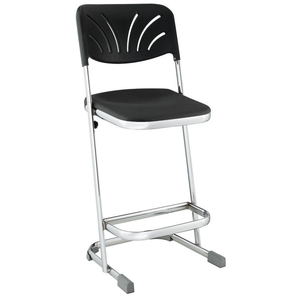 "National Public Seating 6624B Elephant Z-Stool with Backrest - 24"" High"