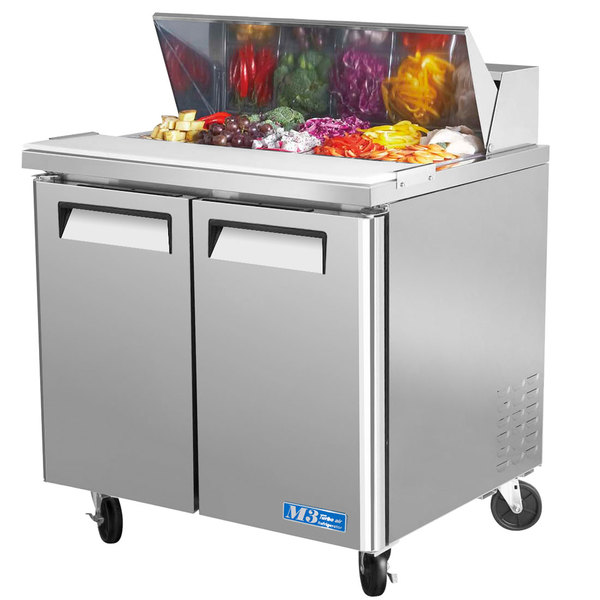 "Turbo Air MST-36 36"" 2 Door Mega Top Refrigerated Sandwich Prep Table"