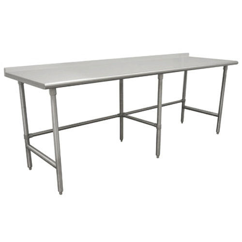"14 Gauge Advance Tabco TFLG-2411 24"" x 132"" Open Base Stainless Steel Commercial Work Table with 1 1/2"" Backsplash"