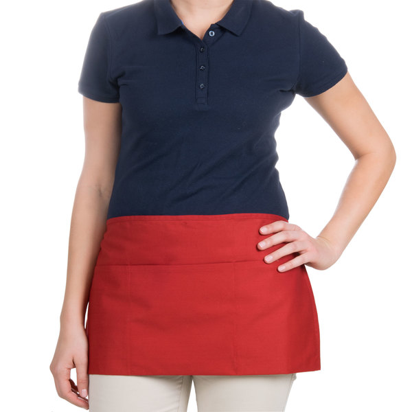 "Choice 12"" x 26"" Red Front of the House Waist Apron"