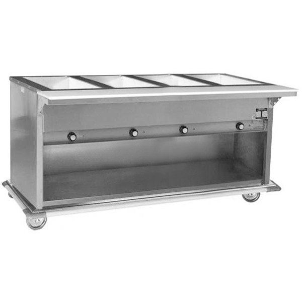 240V Eagle Group PHT4OB Portable Electric Hot Food Table with Enclosed Base - Four Pan - Open Well