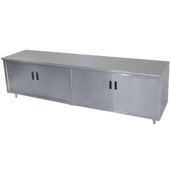 "Advance Tabco HB-SS-246 24"" x 72"" 14 Gauge Enclosed Base Stainless Steel Work Table with Hinged Doors"