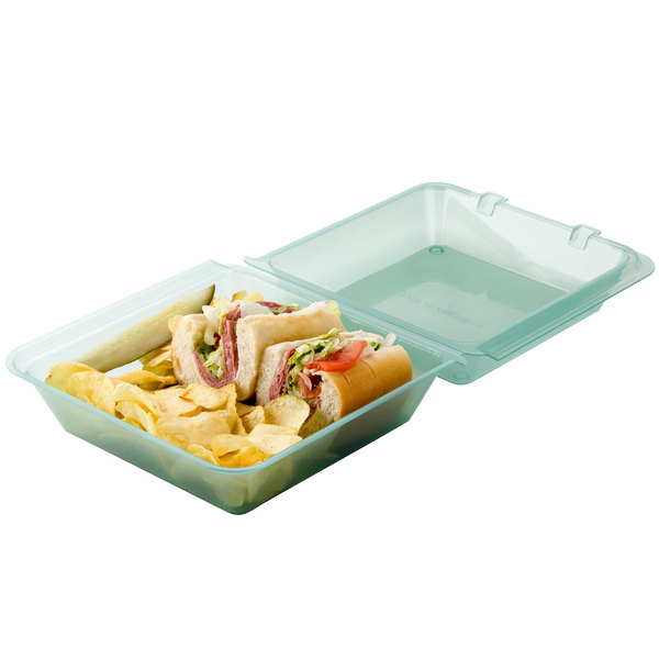 "GET EC-02 9"" x 9"" x 3 1/2"" Jade Green Reusable Eco-Takeouts Container - 12/Pack"