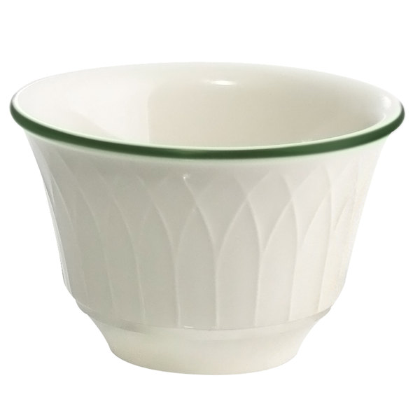 Homer Laughlin 1430-0330 Green Jade Gothic Off White 7.5 oz. China Bouillon Bowl - 36/Case