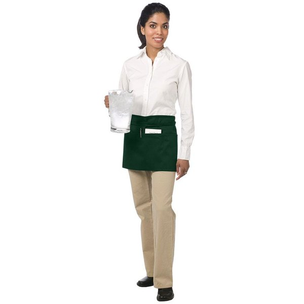 "Chef Revival 605WAFH-HG Customizable Hunter Green Front of the House Waist Apron - 12""L x 24""W"