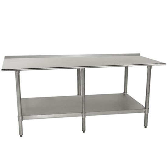 "Advance Tabco TTF-308-X 30"" x 96"" 18 Gauge Stainless Steel Work Table with Backsplash and Undershelf"