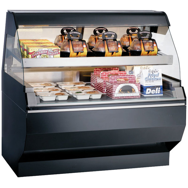 Alto-Shaam ED2SYS-48/2S SS Stainless Steel Two-Tiered Heated Display Case with Curved Glass and Base - Self Service 48""
