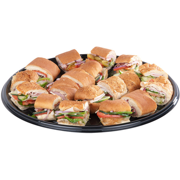 "Sabert 9916 Onyx 16"" Black Round Catering Tray - 36/Case"
