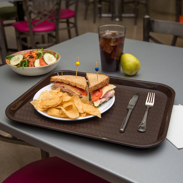 "Carlisle CT141869 Customizable Cafe 14"" x 18"" Chocolate Brown Standard Plastic Fast Food Tray - 12/Case"