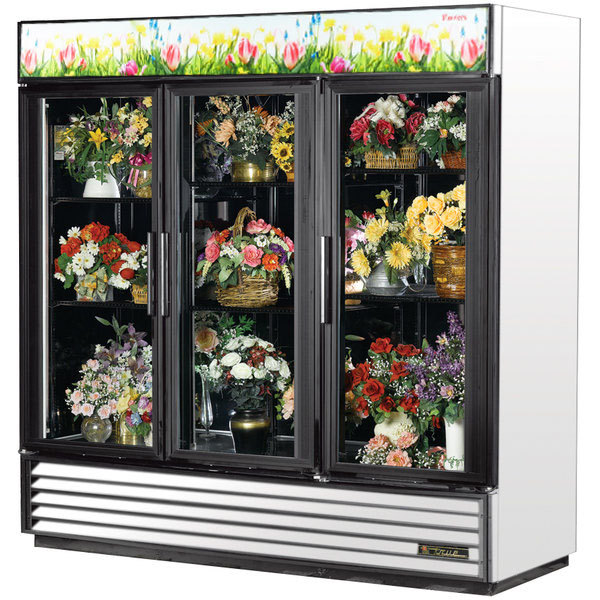 True GDM-72FC-LD White Three Glass Swing Door Floral Case - 72 Cu. Ft.