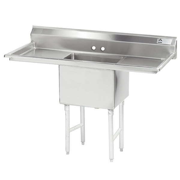 Advance Tabco FS-1-2424-18RL Spec Line Fabricated One Compartment Pot Sink with Two Drainboards - 60""