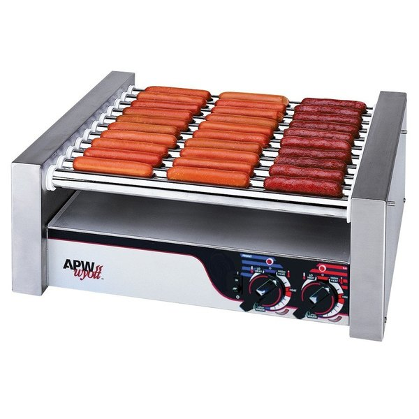 "APW Wyott HRS-20S Non-Stick Hot Dog Roller Grill 13""W - Slant Top 120V"