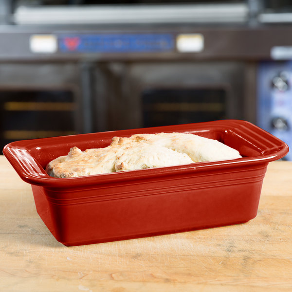 "Homer Laughlin 813326 Fiesta Scarlet 5 3/4"" x 10 3/4"" x 3"" Loaf Pan - 3/Case"