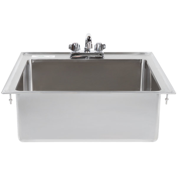 "Regency 20"" x 16"" x 8"" 16-Gauge Stainless Steel One Compartment Drop-In Sink with 8"" Faucet"