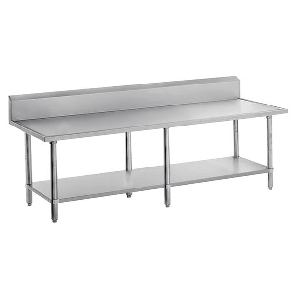 "Advance Tabco VKS-3010 Spec Line 30"" x 120"" 14 Gauge Work Table with Stainless Steel Undershelf and 10"" Backsplash"