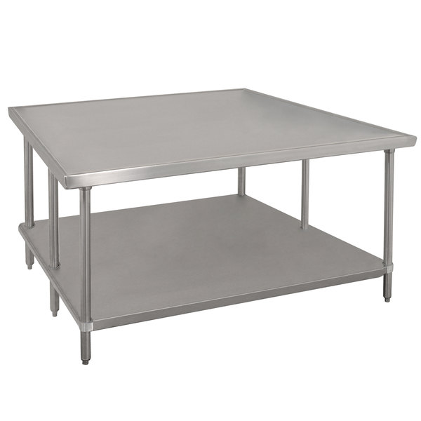 "Advance Tabco VLG-486 48"" x 72"" 14 Gauge Stainless Steel Work Table with Galvanized Undershelf"
