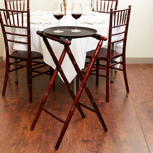"Lancaster Table & Seating Red Brown 32"" Folding Turned Leg Tray Stand Chic Wood"