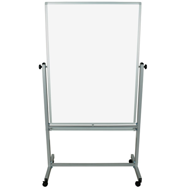 "Luxor MB3648WW 35 3/8"" x 47 1/4"" Double-Sided Whiteboard with Aluminum Frame and Stand"