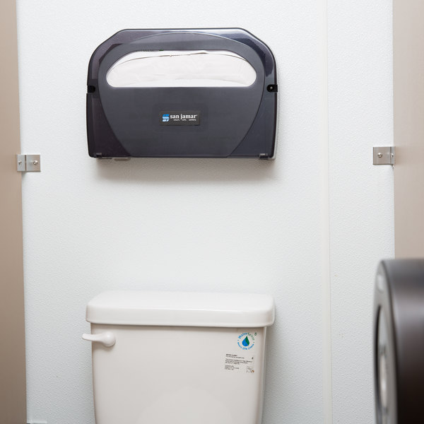 San Jamar TS510TBK Toilet Seat Cover Dispenser - Black Pearl