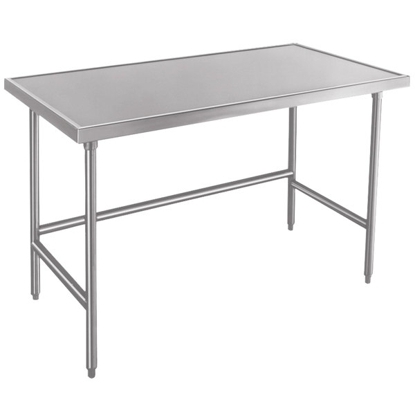 "Advance Tabco Spec Line TVLG-484 48"" x 48"" 14 Gauge Open Base Stainless Steel Commercial Work Table"