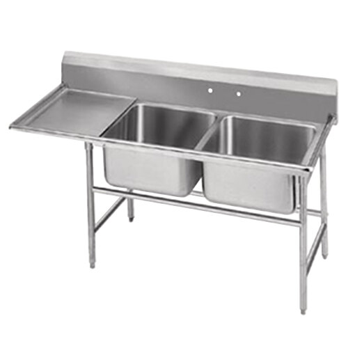 Advance Tabco 94-62-36-18 Spec Line Two Compartment Pot Sink with One Drainboard - 62""