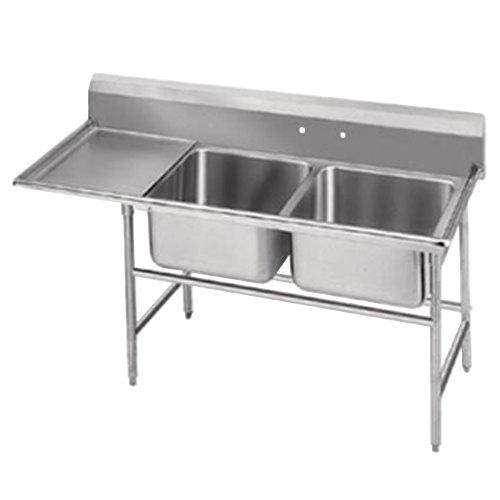 Advance Tabco 94-62-36-36 Spec Line Two Compartment Pot Sink with One Drainboard - 80""