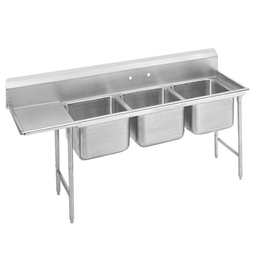 Advance Tabco 9-83-60-24 Super Saver Three Compartment Pot Sink with One Drainboard - 95""