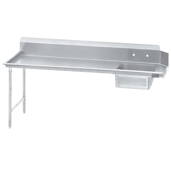 Advance Tabco DTS-S70-96 8' Standard Stainless Steel Soil Straight Dishtable