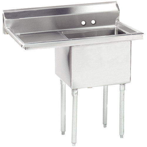 Advance Tabco FE-1-1812-18 One Compartment Stainless Steel Commercial Sink with One Drainboard - 38 1/2""