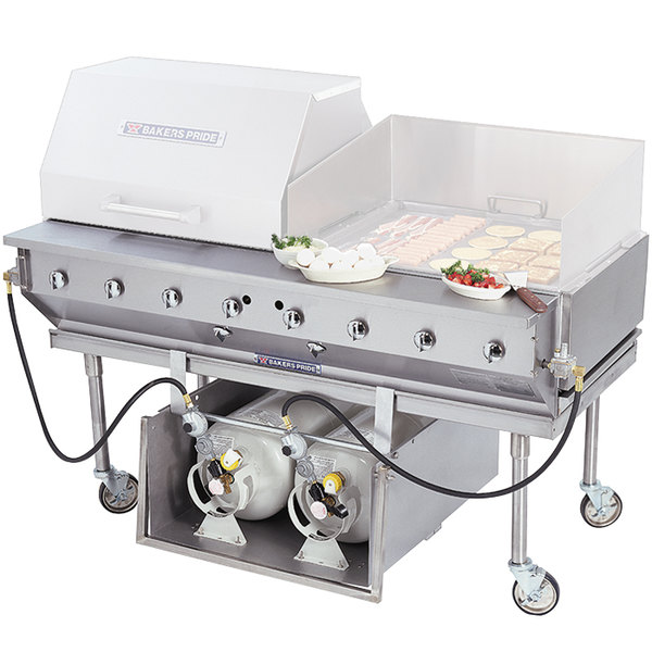 "Bakers Pride CBBQ-30S-CP 30"" Ultimate Outdoor Gas Charbroiler with Tank Caddy and Grill Cover Accessories"